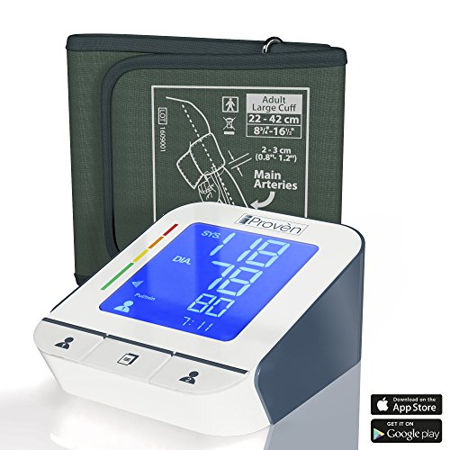 "Blood Pressure Monitor - Premium Technology: Double Pulse Detection - Lightning fast (30-40 sec) and Highly Accurate iProvèn BPM-2244BT with Bluetooth Connectivity (8 3/4""-16 1/2"") (Large cuff)"