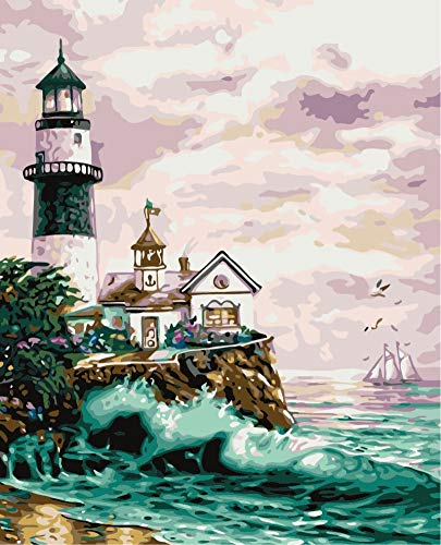 JOLOMOY Paint by Numbers Kits for Adults, DIY Digital Oil Painting by Number for Kids Beginner - Lighthouse Cabin Sea Wave Scenery 16X20 inch Number Painting (Framed)