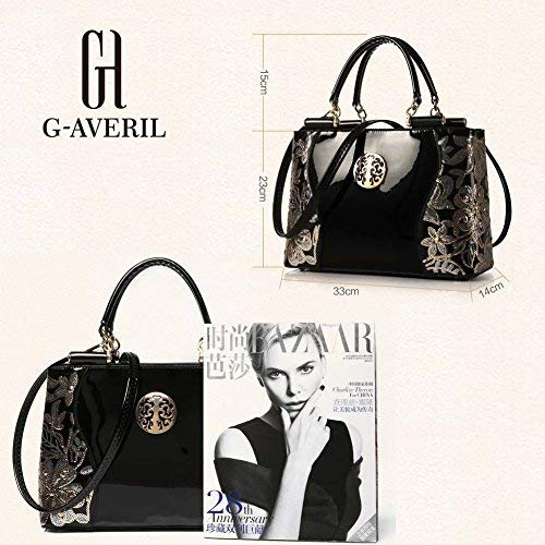 (G-AVERIL) Borsa 4Colour Bauletto da Donna Elegante con Manici e Tracolla in pelle nero1