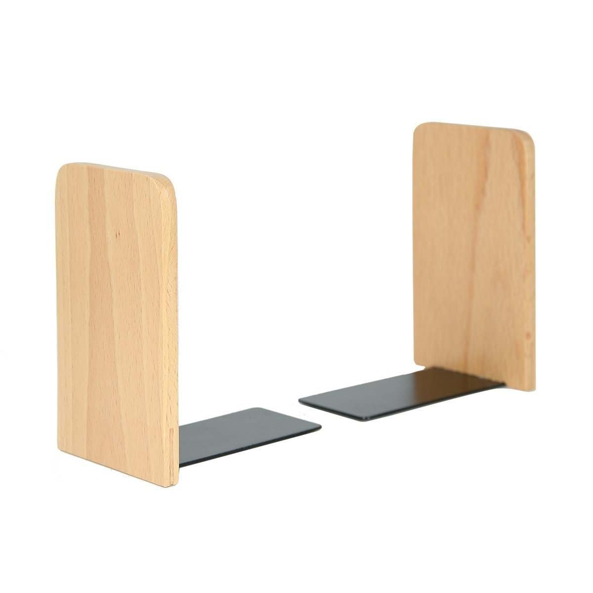 Pandapark Wood and Steel Bookends,Pack of 1 Pair,Non-Skid,German Beech Office Book Stand (Beech-A)