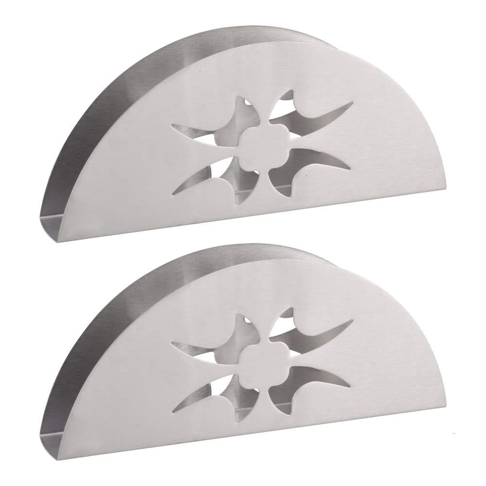 ナプキンホルダー 2パック ステンレススチール ナプキンホルダー セクターデザイン ホーム キッチン テーブル装飾   B07MY4DS13
