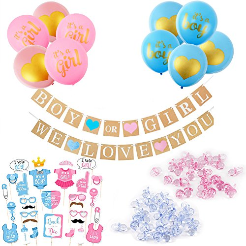 Boy or Girl Gender Reveal Decorations 111pcs - Boy or Girl Banner Balloons Photo Booth Props Mini Pacifier for Pregnancy Announcement- ALL IN ONE