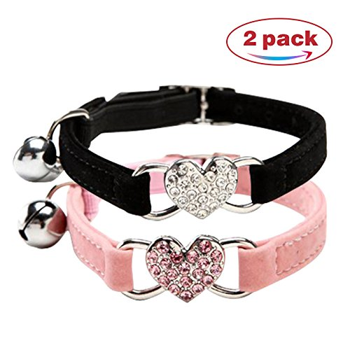 (Chukchi Pink Soft Velvet Safe Cat Adjustable Collar with Crystal Heart Charm and Bells 8-11 Inches(Black+pink))