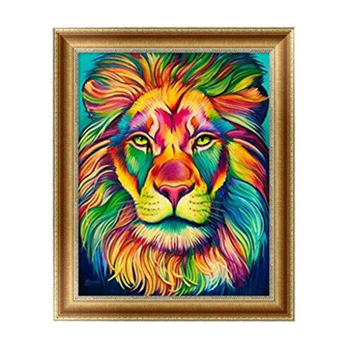 Feamos 5D Diamond Embroidery Kit Lion Cross Stitch Craft for DIY Wall Decor