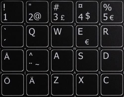 4Keyboard Swedish//Finnish Stickers for Keyboard Black Background for Desktop 14x14 Laptop and Notebook