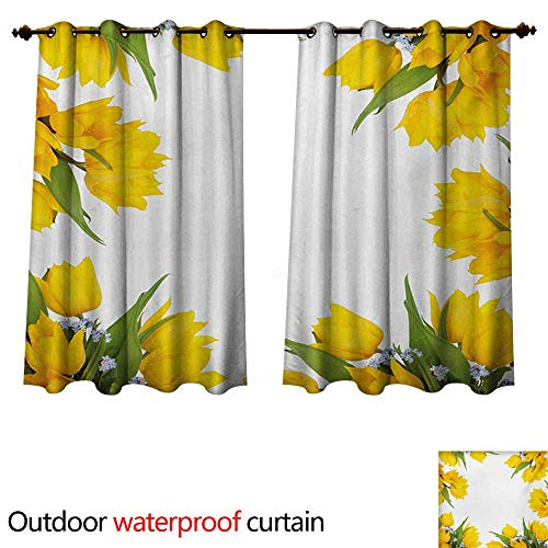 WilliamsDecor Yellow Flower 0utdoor Curtains for Patio Waterproof Abstract Frame Yellow Tulip and Blue Forget Me Knot Blooms Bouquets W96 x L72(245cm x 183cm)
