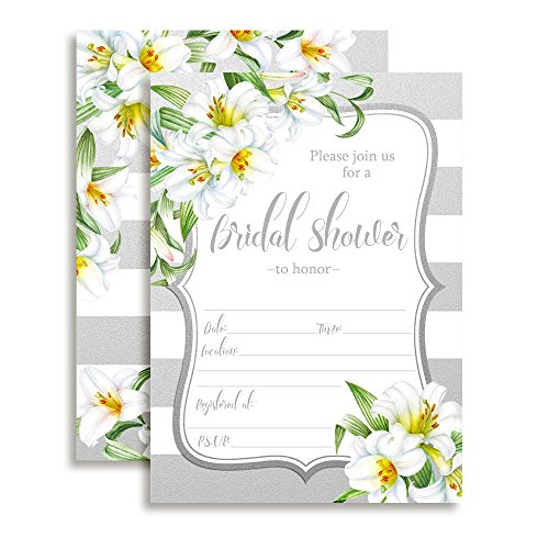 Lilies with Silver and White Stripes Bridal Shower Fill in Invitations, 30 5