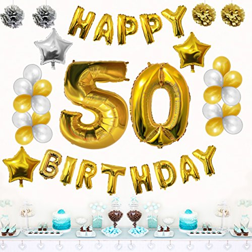50th Happy Birthday Party Balloons Supplies Decorations By Belle Vous