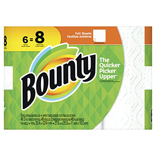 Large Product Image of Bounty Paper Towels, White, 6 Big Rolls