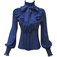 Smiling Angel Chiffon Ruffle Lace Bow Tie Vintage Gothic Lolita Casual Shirt Blouse,White/Black/Wine Red/Blue