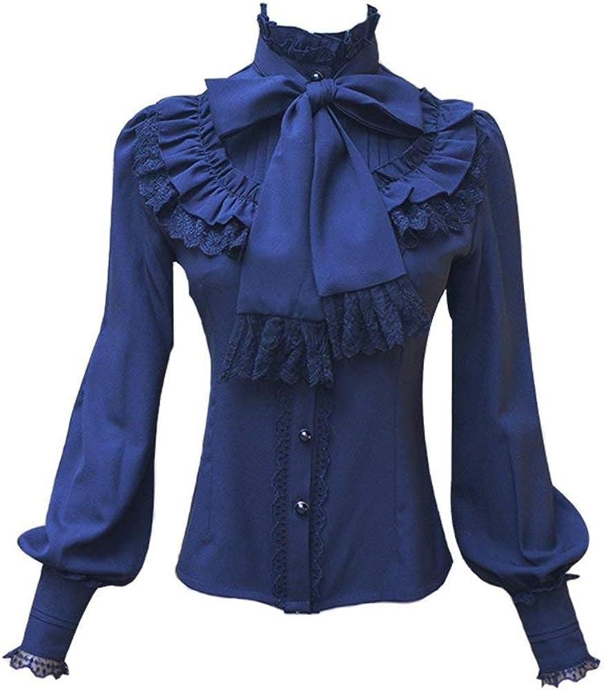 Double Villages Falda Plisada con Volados de Gasa Blusa para Mujer Blusa Lolita Victoriana Retro Blusa (Azul, S): Amazon.es: Ropa y accesorios