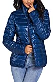 Kwiten Womens Quilted Light Coat Winter Puffer Jacket (L,Blue)