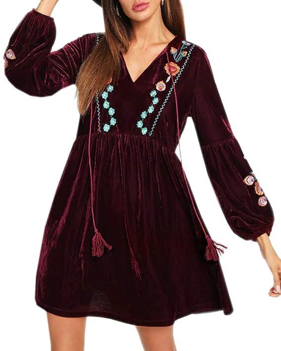 56fe7832daf0 Aofur Elegant Women's Ladies Boho Velvet Soft Long Swing Tunic Blouse Mini  Dress Embroidery Floral Christmas Party Tops Plus Size 8-24: Amazon.co.uk:  ...