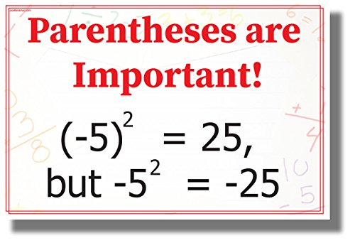 Poster Algebra - Parentheses are Important! - NEW Classroom Math Science Algebra POSTER