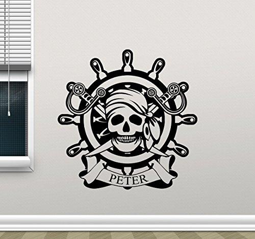 Custom Name Pirate Skull Ship Wheel Wall Decal Pirate Jolly Roger Dead Skeleton Skull Logo Vinyl Sticker Halloween Horror Wall Decor Cool Wall Art Living Room Modern Bedroom Wall Mural 314xxx