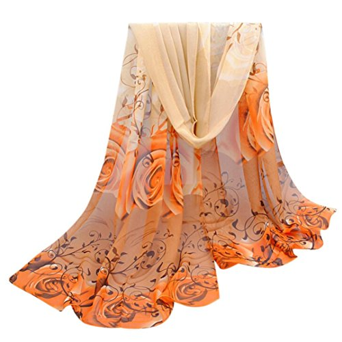 Price comparison product image Scarves,lookatool Women Beautiful Rose Pattern Chiffon Shawl Wrap Scarf Scarves