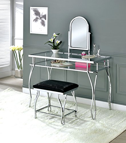 HOMES: Inside + Out IDF-DK6708CRM Hellens 3-Piece Vanity Set, Chrome
