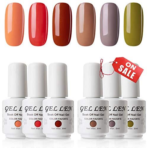 Gellen Gel Nail Polish 6 Colors Set, Fall Series Dark Winter Nail Gel Colors - Caramel Brown Wood Pumpkin Trendy Nail Art Colors