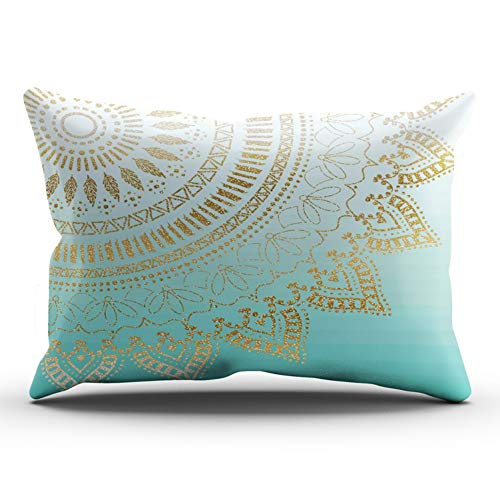 XIUBA Pillowcases Aqua Turquoise and Gold Pretty Hand Drawn Tribal Mandala Elegant Design Customizable Decorative Rectangle 12x24 Inch Lumbar Size Throw Pillow Case Hidden Zipper One Side -