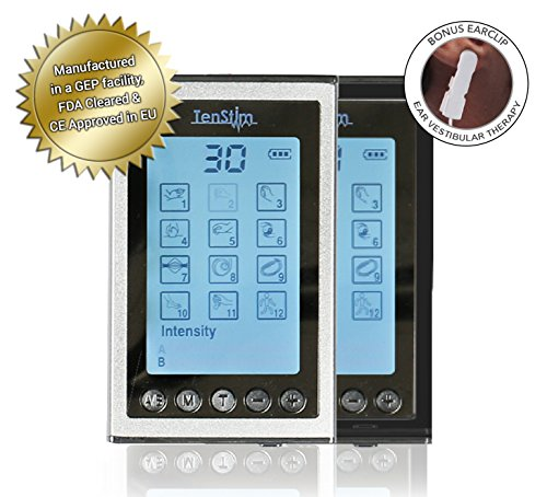 TenStim TENS and EMS Combo Unit - FDA 510K Cleared | Dual Independent Channels | 12 Modes: Electronic Pulse Massager & Electrode Muscle Stimulator Massage Machine for Pain Relief (Black or Silver) by Tenstim