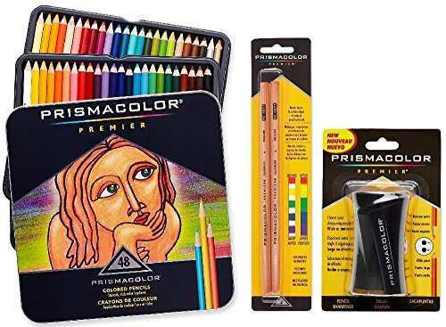 Prismacolor Premier Colored Pencil and Accessory Set, Set of 48 Premier Colored Pencils, One Premier Pencil Sharpener, and a 2-pack of Prismacolor Premier Colorless Blender Pencils