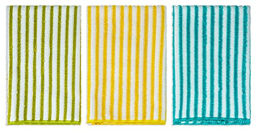 DecorRack Kitchen Towels, Microfiber Dish Drying Cloth, 16 x 19 inch, Striped Hand Towel Set, Green Yellow Blue (Set of 3)