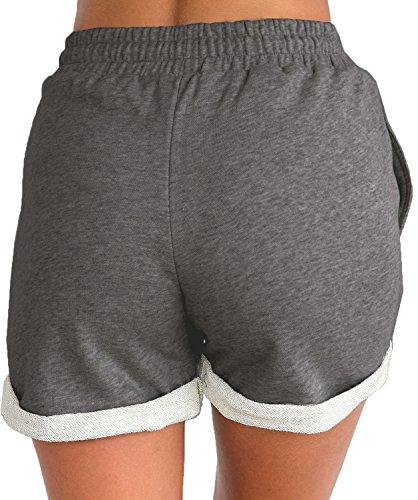 Tengo Women Summer Beach Shorts Juniors Folded Hem Shorts with Drawstring(Darkgrey,M) by Tengo (Image #1)