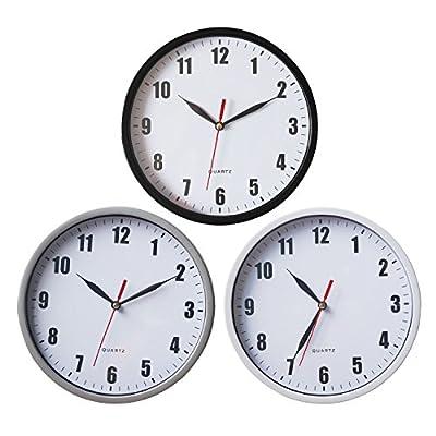 "Smarten Arts - 8"" Silent Quartz Wall Clock Non-ticking Digital Wall Clock Battery Operated Easy to Read Round Wall Clock"