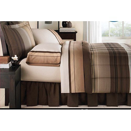 Brown & Tan Striped Boys Twin Comforter Set (6 Piece Bed In A Bag)
