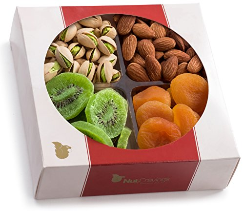 - Nut Cravings Medium Dried Fruit and Nut Gift Platter - Father's Day Gift Baskets w/4 Different Dried Prime Fruits & Nuts - Sympathy, Condolence, Birthday, Healthy Gift Box For Any Occasion