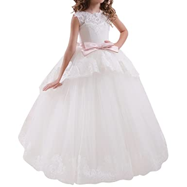 IBTOM CASTLE Flower Girls Vintage Lace Princess Graduation Communion Tulle Dress White Ivory Wedding Pageant Prom
