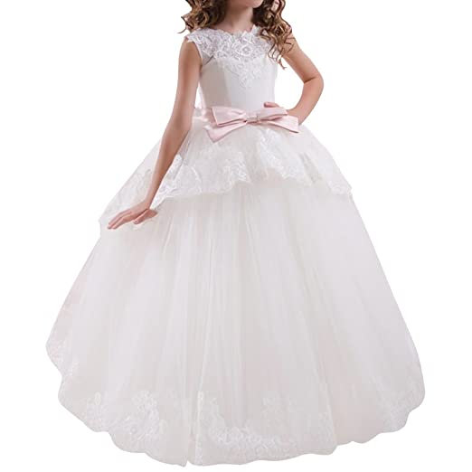 Amazon.com: Flower Girls Lace First Communion Tulle Formal Dress Wedding Pageant Princess Party Dance Ball Gown 2-13T: Clothing