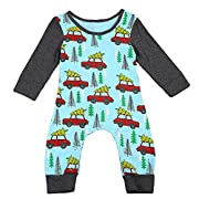 GSHOOTS Baby Long Sleeve Car and Tree Printed Cotton Onesie (70/3-6 Months, Christmas Tree & Car)