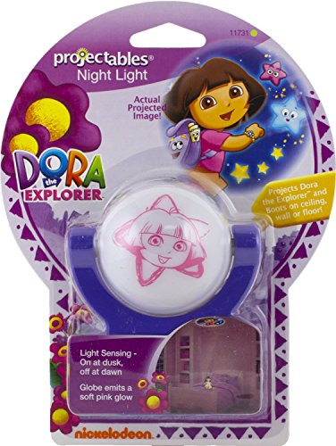 Dora the Explorer Dusk to Dawn Projectables Night Light Projects a 3 Foot Image of Dora, Backpack, Map and Stars