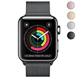 YSS for iWatch Replacement Band Magnetic Closure Clasp Milanese Loop Mesh Stainless Steel Metal Bracelet Strap for Apple Watch Series 1 Series 2 Series 3 Sport & Edition -38mm (Black)