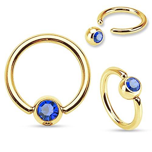 Gold Plated Captive Bead Ring (Gem Ball Set Freedom Fashion 316L S. Steel Gold Plated Captive Bead Ring)