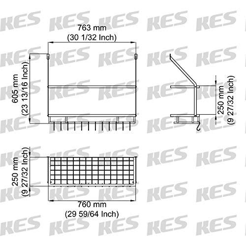 KES 30-Inch Kitchen Pan Pot Rack Wall Mounted Hanging Storage Organizer 2-Tire Wall Shelf with 12 Hooks Matte Black, KUR215S75B-BK by Kes (Image #3)
