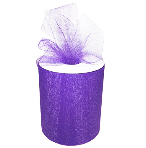 Craft and Party, 6 by 200 yards (600 ft) fabric tulle spool for wedding and decoration. Value pack. (Purple)
