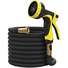 50 ft Hose - Expandable Garden Hose - Heavy Duty Flexible Hose - Water Hose with 9-Pattern Spray Nozzle and Hose Storage Bag (3-Piece Set). Kink and Tangle-Free Lawn and Plant Watering System