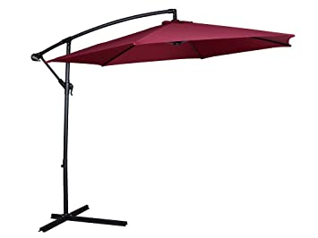 TMS Patio Umbrella Offset OutDoor 10ft Garden Deck Cantilever Hanging  Canopy Umbrella, Red