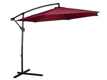 TMS Patio Umbrella Offset OutDoor 10ft Garden Deck Cantilever Hanging  Canopy Umbrella, Red