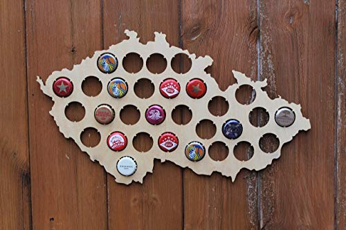 (Czech Republic Beer Cap Map Wood Bottle Beer Cap Wall Art Plaque Collection Gifts for Him, for Dad,for Husband,Boyfriend Gifts)