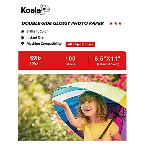 Paper Glossy Heavyweight - Koala Photo Paper 8.5x11 Inches Heavyweight Double Sided High Glossy 100 Sheets 260gsm only Compatible with Inkjet Printer