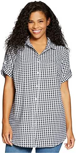 Women's Plus Size Shirt, Seersucker With Generous Fit