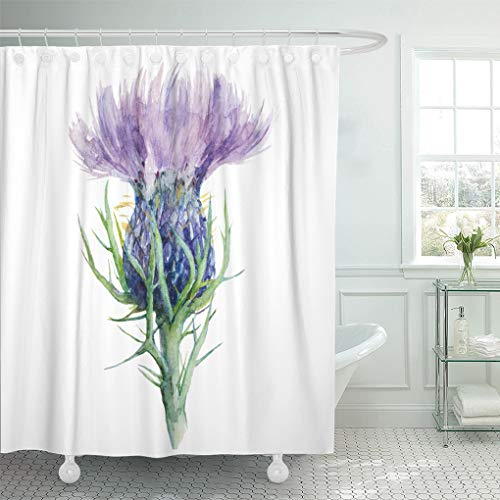 (Emvency Shower Curtain Purple Scottish Milk Thistle Flower Watercolor Painting White Liver Shower Curtains Sets with Hooks 72 x 78 Inches Waterproof Polyester Fabric)