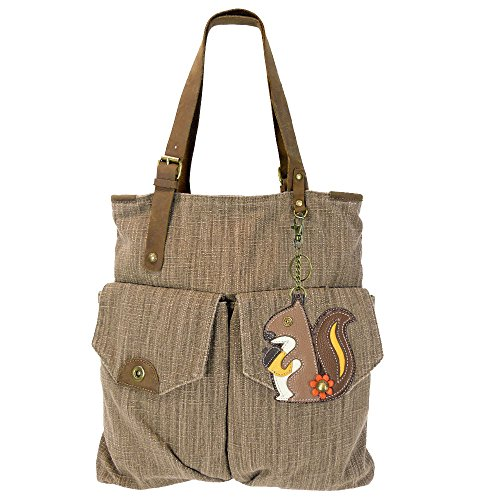 Chala Canvas Tote Shoulder Handbags with Chala Purse Charm/Coin Purse-Light Brown (907) (Squirrel)