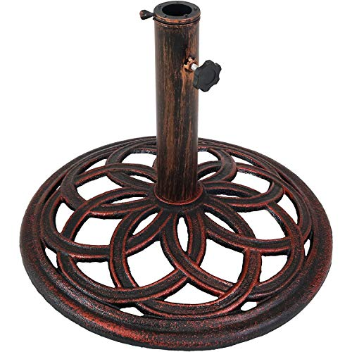 Sunnydaze Cast Iron Umbrella Base with Celtic Knot Design, 17-Inch Diameter