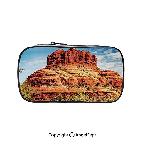 Big Capacity Pencil Case 1L Storage,Famous Bell Rock and Courthouse Butte in Sedona Arizona USA Nature Desert Decorative Cinnamon Blue Green 5.1inches,Desk Pen Pencil Marker Stationery Organizer with]()