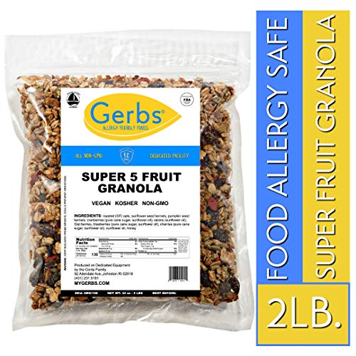Gerbs Super 5 Fruit Granola, 2 LBS - Top 14 Food Allergy Free & NON GMO - Unsulfured & Keto Safe - Cranberry, Blueberry, Goji Berry, Cherry, Raisin
