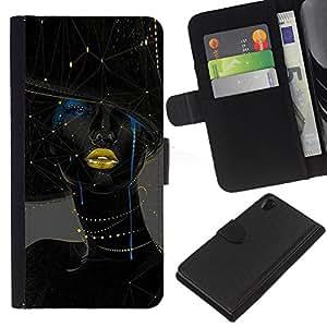 KLONGSHOP // Tirón de la caja Cartera de cuero con ranuras para tarjetas - Mujer Oro Labios Moda Arte - Sony Xperia Z2 D6502 //